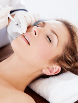 a lady receiving dermal fillers